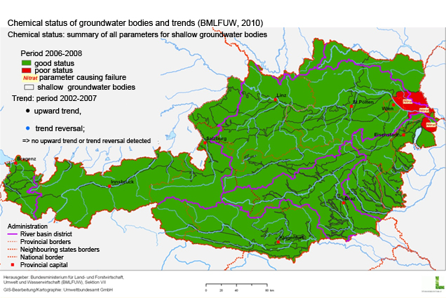 Figure 4: Chemical status of bodies of groundwater bodies and trends (BMLFUW, 2010 - modified)