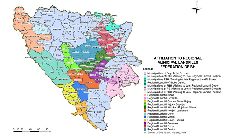 Figure 1 Proposed Waste Management Regions - Environmental Strategy FBiH