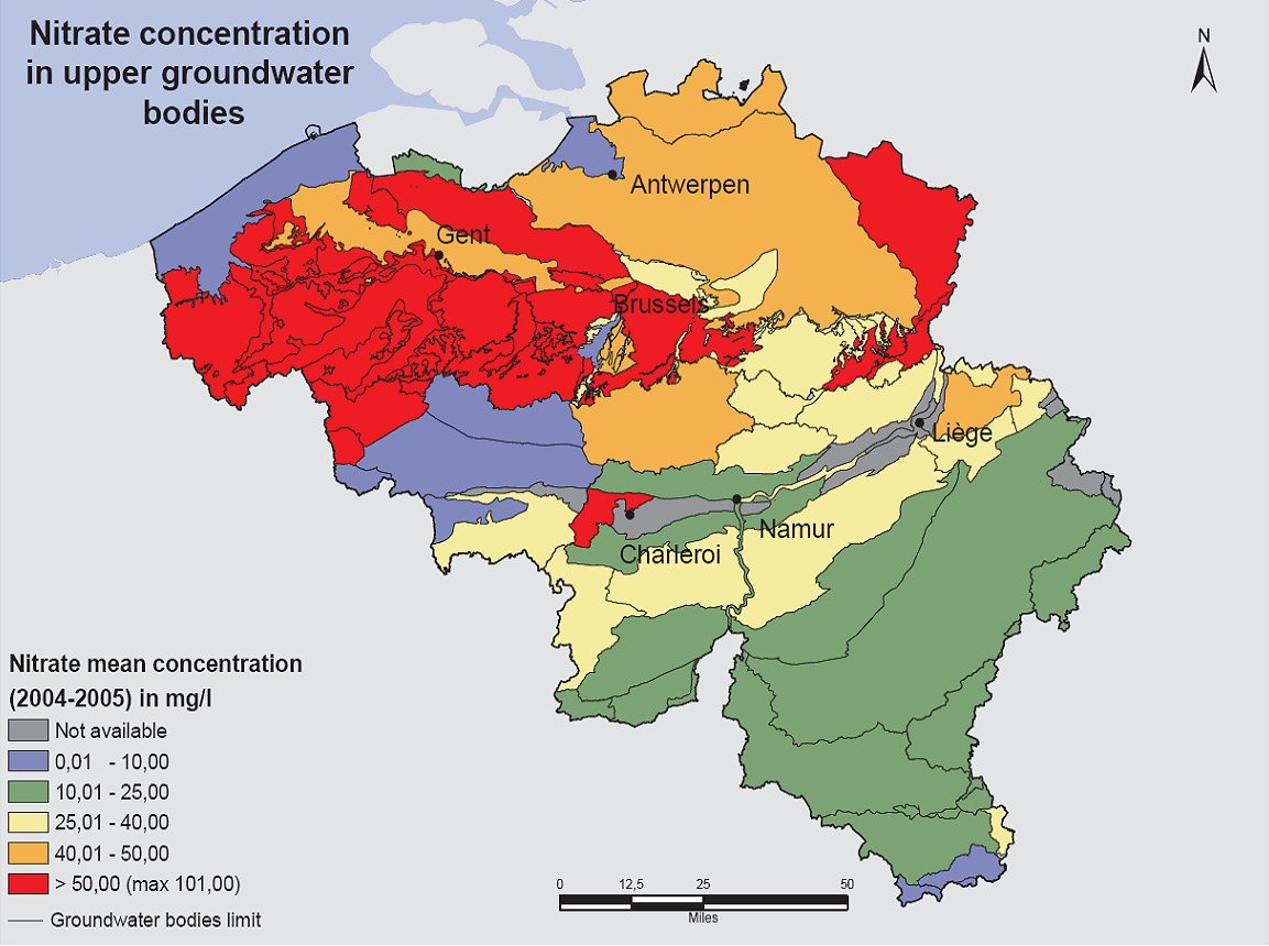 Figure 1 : Nitrate concentration in upper groundwater bodies in Belgium