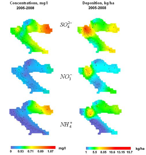 Figure 4. Spatial distribution of mean annual concentrations (mg/l) in precipitation and mean annual deposition (kg/ha) of sulphate ions (SO ), nitrate (NO ) and ammonia (NH ), 2005-2008.