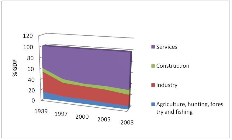 Figure 1. Structure of the GDP 1989-2008