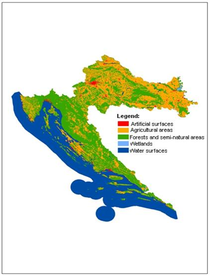 Figure 3 Structure of land use and allocation in Croatia