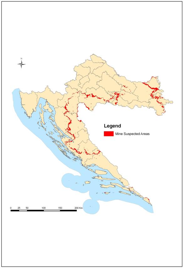 Figure 4. Map of mine contaminated areas, 2008