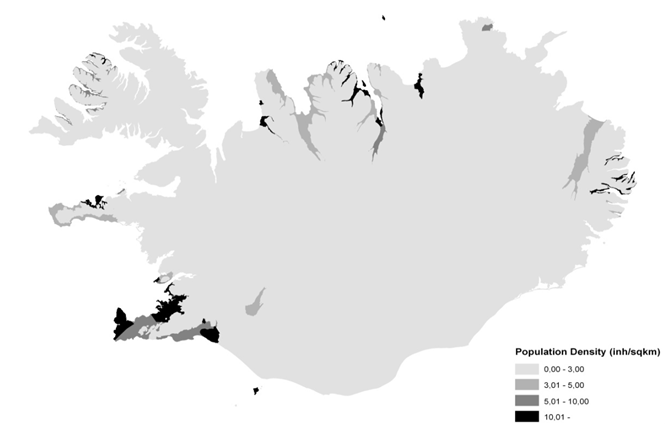 Figure 1. Regional distribution of population density in Iceland (mean: 3 inh/km2)