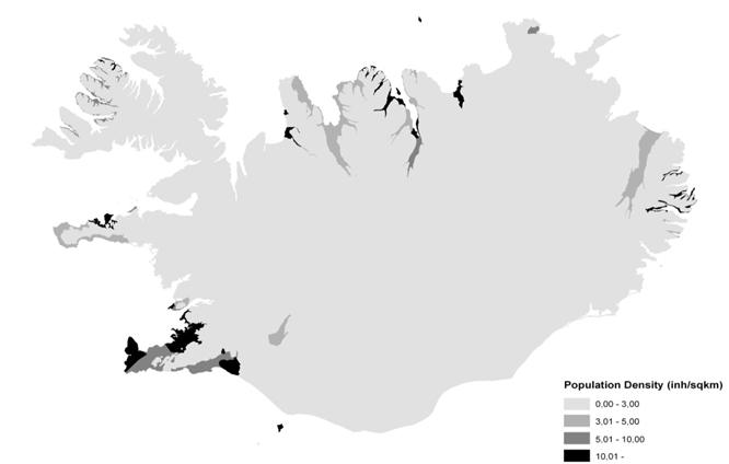 Figure 1. Regional distribution of population density in Iceland (mean: 3 inh/km2)