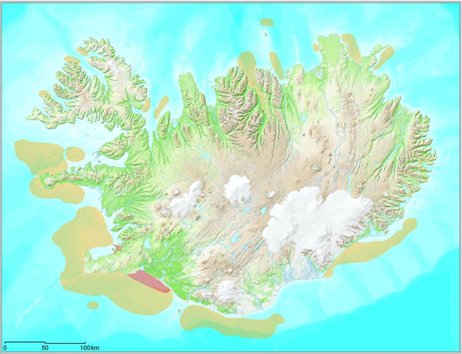 Figure 1. The main spawning grounds for cod around Iceland