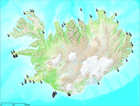 Figure 2. The main seabird colonies in Iceland