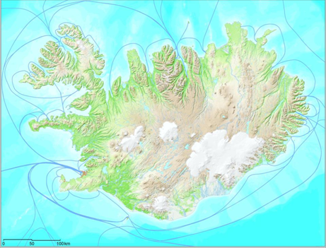 Figure 3. The main sailing routes around Iceland