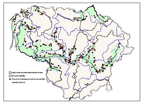 Fig. 1 Distribution of migrating fish in Lithuanian rivers Source: Pisciculture and Fisheries Research Centre.
