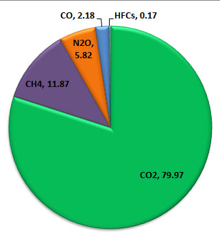 Figure 2 GHGs contribution to total emission in 2000