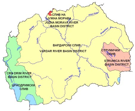 Map 1: River basin districts in the Former Yugoslav Republic of Macedonia
