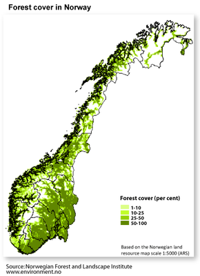 Forest cover in Norway