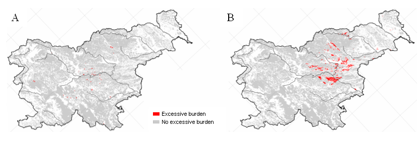 Figure 7: Excessive burdens on forest ecosystems of nitrogen, causing eutrophication (A) and with nitrogen compounds and sulphur, causing acidification (B)