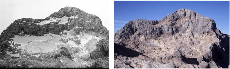 Figure 3: Triglav glacier in 1957 and 2003
