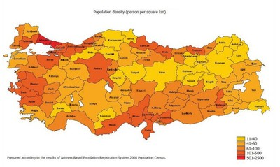 Map 2 Population Density In Turkey
