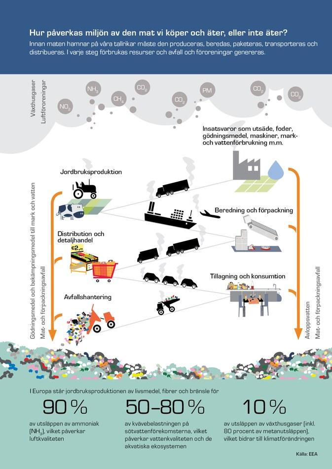 Innan maten hamnar på våra tallrikar måste den produceras, beredas, paketeras, transporteras och distribueras. I varje steg förbrukas resurser och avfall och föroreningar genereras.