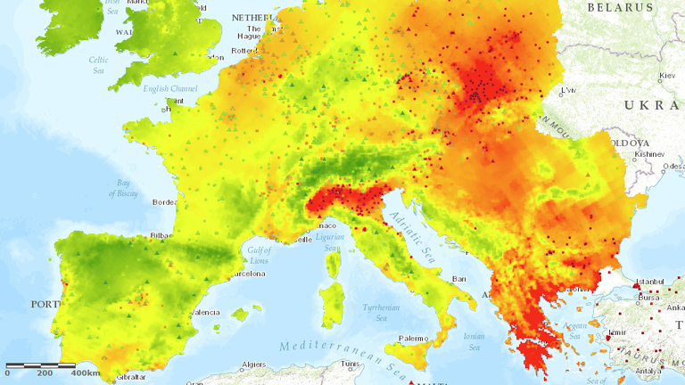 air pollution in europe map PM10 interpolated maps — European Environment Agency
