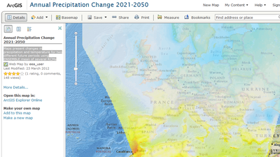 Annual precipitation changes 2021-2050