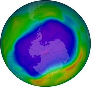Illustration of the ozone depletion (blue colours) in the South hemisphere in 2006. Source: National Aeronautics and Space Administration (NASA) - Goddard Space Flight Center