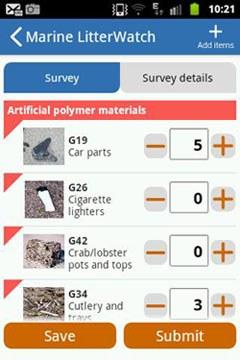 Marine litterwatch app